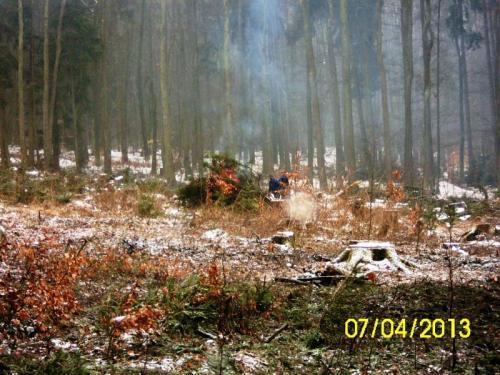 2013 - duben - brigáda SDH Němčice v lese po těžbě